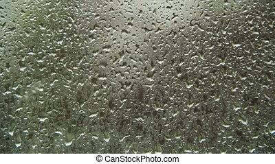 regen fällt, auf, der, fenster, glas., timelapse