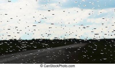 regen fällt, auf, der, glas