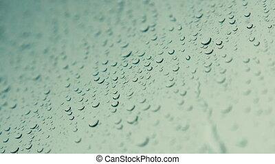 regen fällt, auf, glas