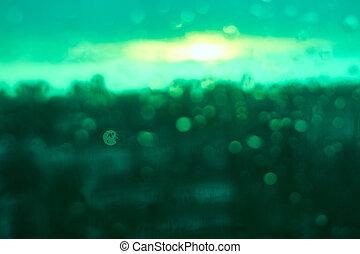 regen fällt, beschaffenheit, auf, fensterglas, mit, betäuben, bunte, grün, sonnenuntergang, licht, abstrakt, verwischt, cityscape, skyline, bokeh, hintergrund., weich, fokus.