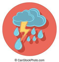 regen, ikone, kreis, schatten, blitz