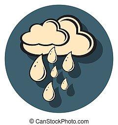 regen, ikone, schatten, kreis