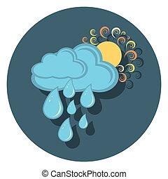 regen, sonne, ikone, kreis, schatten