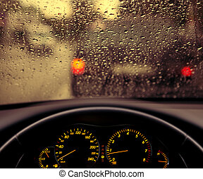 regen, tröpfchen, auf, autoscheibe