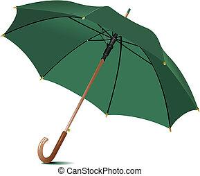 regen, umbrella., vektor, geöffnet, abbildung