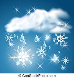 regen, und, schnee