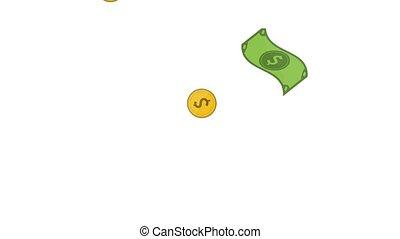 regen, von, geld, hd, animation