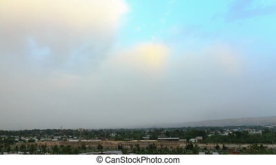 regen- wolken, in, der, morgen, in, der, trocken, dushanbe., tajikistan