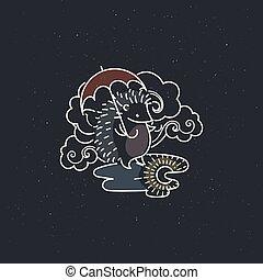 regenachtig, vector, paraplu, beeld, puddle., illustratie, babykamer, onder, kunst, lijn, wolk, egel