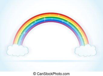 regenbogen, abstrakt, vektor, wolkenhimmel