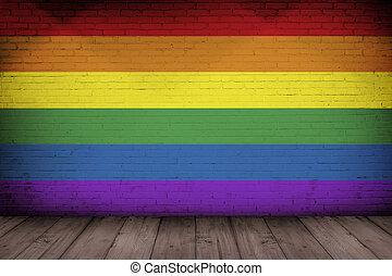 Regenbogen Altes Gay Wand Muster Beschaffenheit Beton