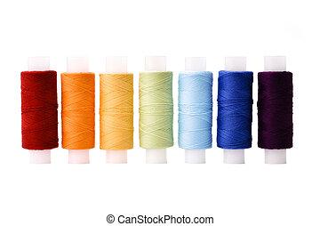 regenbogen, arrangiert, garnrollen, multicoloured, fäden,...