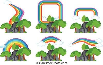regenbogen, aus, felsige berge