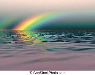 regenbogen, aus, meer