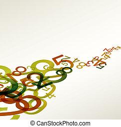 regenbogen, bunte, abstrakt, retro, hintergrund, zahlen