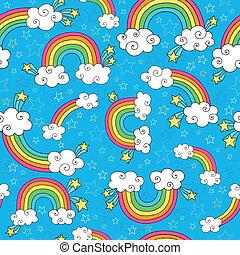 regenbogen, doodles, seamless, muster