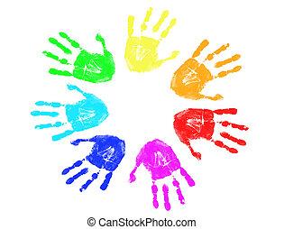 regenbogen, drucke, hand