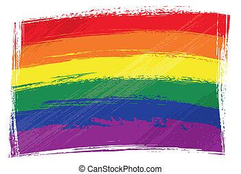 regenbogen, fahne, grunge
