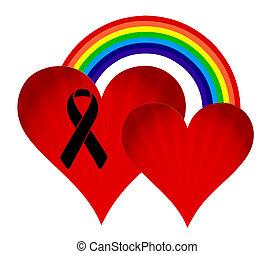 regenbogen, fahne, schwarz, geschenkband, hearts.