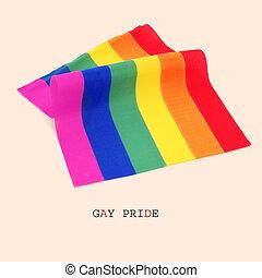 regenbogen, fahne, stolz, gay, text