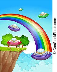 regenbogen, fliegendes, himmelsgewölbe, untertassen