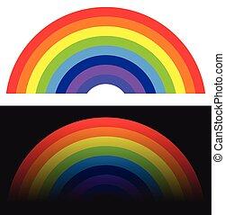 regenbogen, form, /, element, mit, normal, und, vergehen, version
