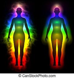 regenbogen, frau, silhouette, -, aura