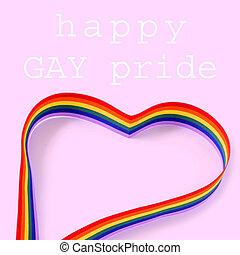 regenbogen, gay, herz, text, stolz, tag, glücklich