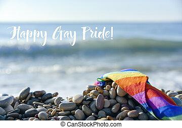 regenbogen, gay, text, fahne, stolz, sandstrand, glücklich
