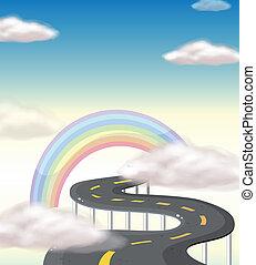regenbogen, gehen, straße, langer, wicklung