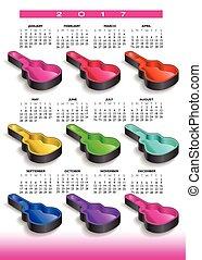 regenbogen, gitarre, neun, kalender, gehäuse, 2017