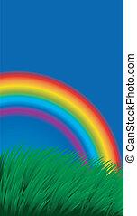 regenbogen, gras, hintergrund