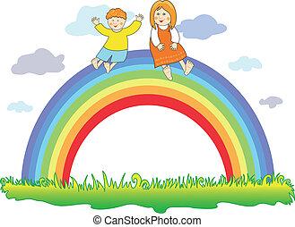 regenbogen, kinder, glücklich
