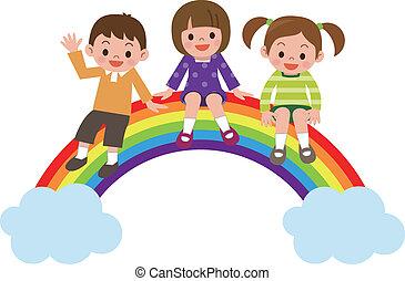 regenbogen, kinder, sitzen