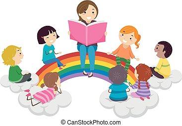 regenbogen, kinder, stickman, storytelling, abbildung