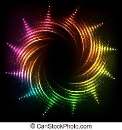 regenbogen, kosmisch, abstrakt, neon, spiralen, rahmen