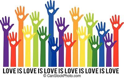 regenbogen, liebe, liebe, abbildung, vektor, herzen, hände