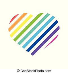 regenbogen, lieben herz, symbol, abstrakt, vektor, abbildung, grafik