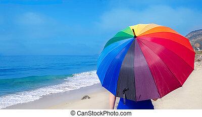 regenbogen, m�dchen, schirm