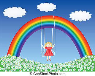 regenbogen, m�dchen, schwingen, hängender