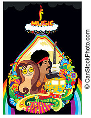 regenbogen, musik, gesicht betrieb