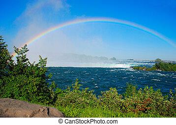 regenbogen, niagara fällt