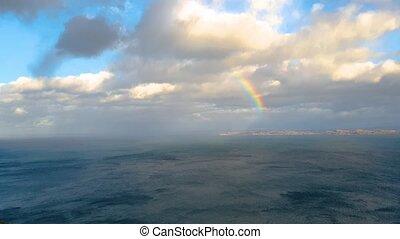 regenbogen, oben, der, rona, insel, in, schottland