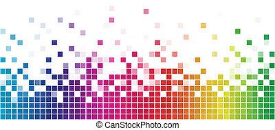regenbogen, quadrat, bunte, space., weißes, kopie, mosaik