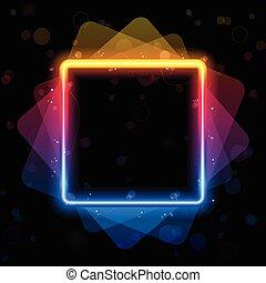 regenbogen, quadrat, umrandungen, swirls., funkeln