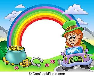 regenbogen, rahmen, kobold, auto