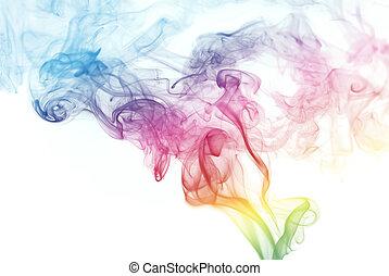 regenbogen, rauchwolken, gefärbt
