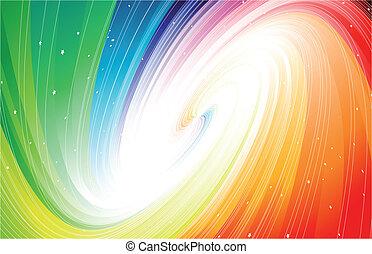 regenbogen, raum, tief, vektor, colors., sternen