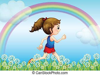 regenbogen, rennender , himmelsgewölbe, m�dchen