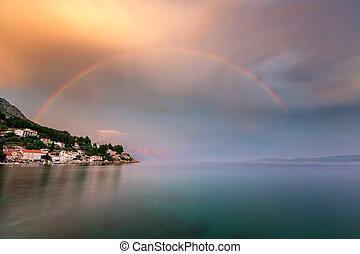 regenbogen, riviera, aus, nach, omis, regen, kroatien, dorf,...